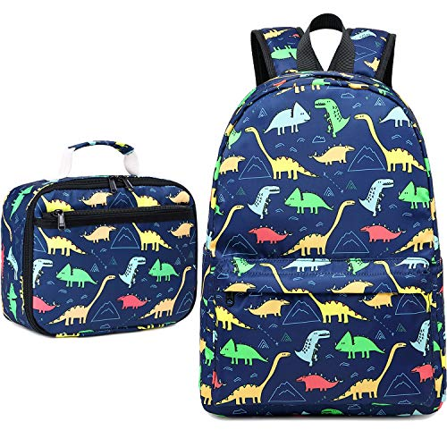 CAMTOP Backpack for Kids, Boys Preschool Backpack with Lunch Box Toddler Kindergarten School Bookbag Set (Y025-2/Dinosaur Navy Blue)
