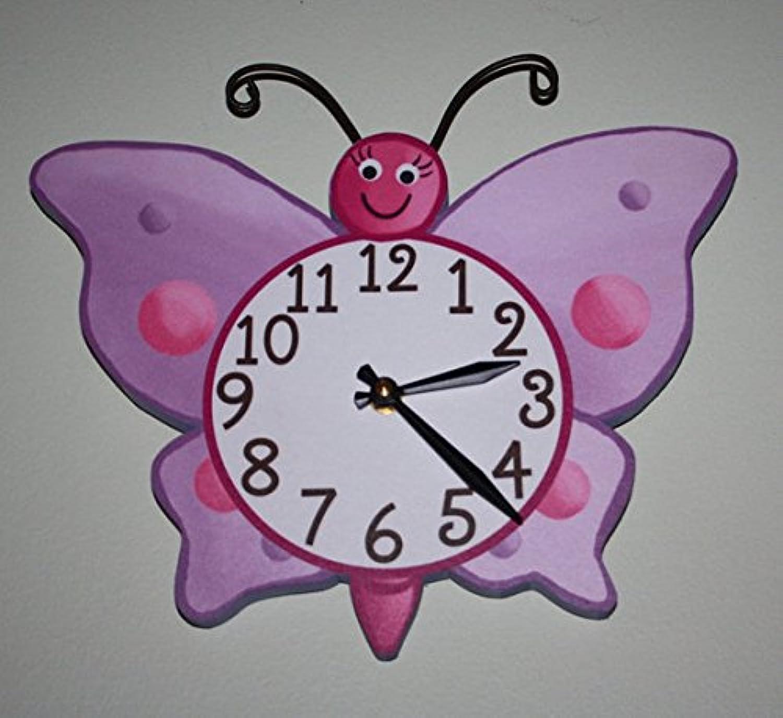 purplec Butterfly Wooden WALL CLOCK Girls Bedroom Baby Nursery Art Decor WC0026