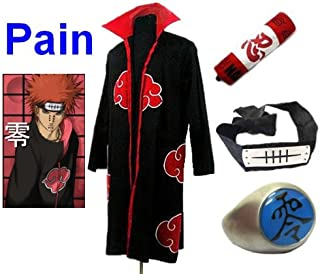 Sunkee Naruto Cosplay Akatsuki Ninja Pain Traje--Capa (Tamaño XL: 177cm-184cm) + Caja de Lápiz+ Pain Diadema+ Anillo