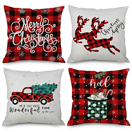QoGoer Christmas Decorations Throw Pillow Covers 18 x 18 Inch Set of 4, Red Black Buffalo Plaids Winter Pillow Cases Square Cotton Linen Cushion Covers Farmhouse Decor for Home