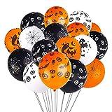 O-Kinee Decoraciones con Globos de Halloween, 100 Piezas 12 '' Globos de látex con Forma de murciélago Esqueleto de Calabaza con Bomba de Aire para Suministros para Fiestas de Halloween