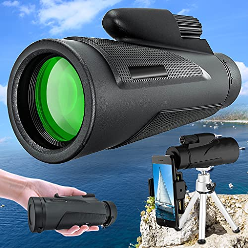 Monoculars for Adults,Rovita 12x50 HD Monocular Telescope with Pocket Tripod,Waterproof Full Optical Prism, Dual Focus Telescope Portable Spotting Scopes for Hiking Hunting Gifts