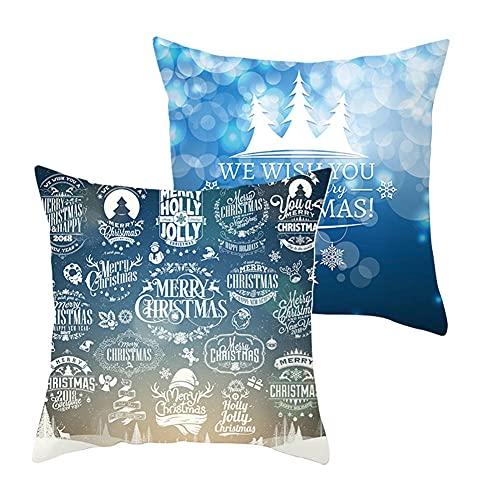 LOYYE 2 pcs Fundas de Cojín Decorativos Navidad Azul Cuadradas Terciopelo Suave Funda de Almohada Cubierta para Cojines Sofá Sala de Estar Habitación Decor Throw Pillow Case J5183 Pillowcase_40x40cm