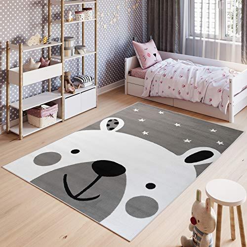 TAPISO Pinky Teppich Kurzflor Kinderteppich Kinderzimmer Grau Weiß Schwarz Pastellfarben Modern Bär Teddy Spielteppich ÖKOTEX 120 x 170 cm