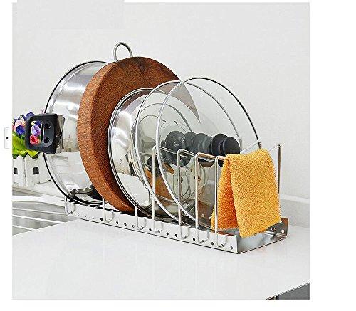 HOMEGIFT Adjustable Bakeware Organizer/Pot Rack/Pot Holder/Cookie Sheet Organizer/lid Rack/Pot Lid Holder/Pan Lid Holder Without Fastening to The Cabinet or The Wall