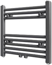 vidaXL Radiador toallero Recto Calefactor Central de baño 480 x 480 mm Gris