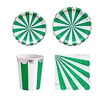 MIYU 使い捨て食器はレッドストライププレートカップナプキン結婚式の装飾パーティー用品を設定します。 (Capacity : Cups 10pcs, Color : Green)
