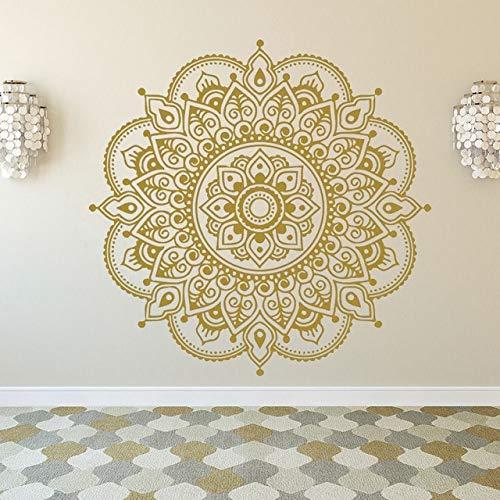 Gold Mandala Wandaufkleber für Zimmer böhmischen Stil Mandala Lotus Aufkleber Blume Wandkunst Yoga Studio Aufkleber Wandaufkleber A7 57x59cm