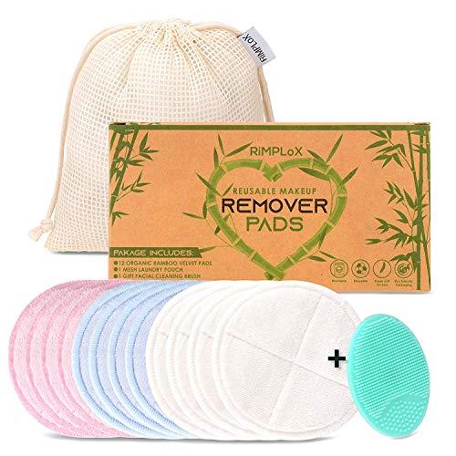 Discos desmaquillantes reutilizables y lavables de bambu, 12 toallitas ecologicas para limpieza facial, algodones desmaquillante reutilizables limpiador facial ojos maquillaje cuidado facial mujer