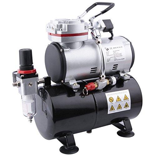 Fengda FD-189 Airbrush Mini Kompressor mit Lufttank/Mächtig Luftstrom und Luftdruck/Druckbehälter/ 4 Bar-Auto Stop/6 bar-maximal