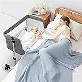 Bassinet for Baby, Portable Bedside Bassinet Sleeper with Mattress & Breathable Net, Adjustable Travel Bedside Crib for Newborn Infant/Baby Boy/Baby Girl, Grey