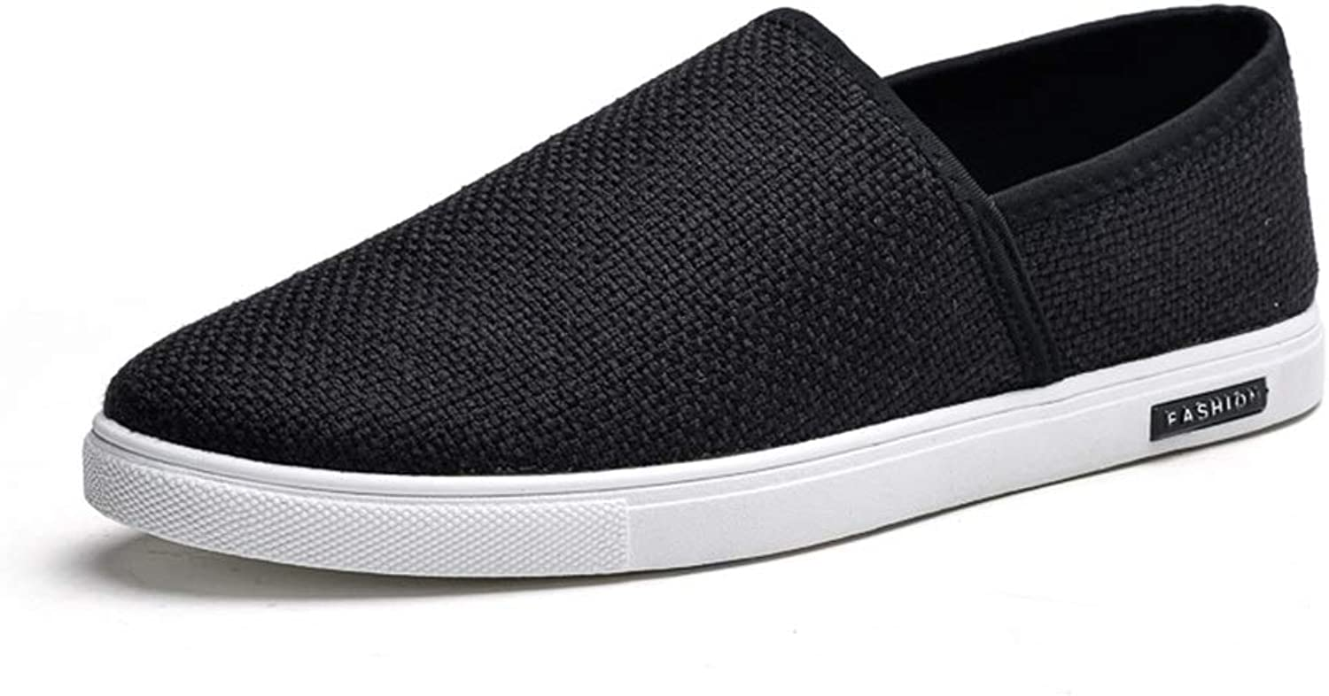 MUMUWU Fashion Sneaker For Men Sports shoes Mesh Texture Slip On Style Simple Pure color Low Top Light
