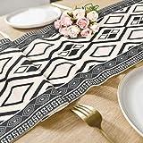 Bateruni Geometrisch Tischläufer, Grau Modern Schwarz Weiß Tischwäsche Matte, Faltenfrei rutschfest Tischband Dekoration für Esszimmer Party Urlaub 35x180cm - 6