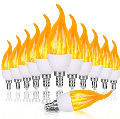 OHLGT E12 Flame Bulbs 12 Pack, 3 Mode LED Candelabra Flame Light Bulb 1.2 Watt Warm White Chandelier Flame Bulbs,1800k Candle Light Bulbs, Flame Tip for Christmas Party Decorations