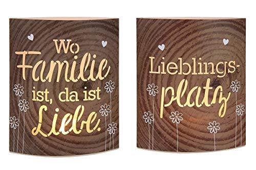 GILDE 2X LED-Laterne Familie & Lieblingsplatz Papier Höhe 16 cm farbmix, Tischdeko