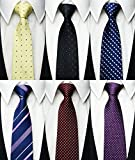 Tiger Mama 6pcs Zipper Skinny Tie Pre-tied Business Skinny Necktie Mixed Lot (Set-12)