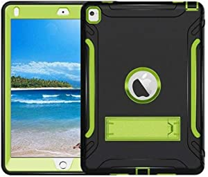 Silicone Case, Made of Hard PC Soft Silicone, Anti-skid Shockproof Full Body Protective Case with Kickstand For Apple iPad Pro 2017 9.7 Inch/Black and Green [dpl]