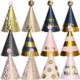 BESTZY 12pcs Gorros de Fiesta Sombreros del Cono de La Fiesta de Cumpleaños Con Poms para Los Cabritos y Los Adultos Fiesta Bienvenida al Bebé Favores (Color La Mezcla)