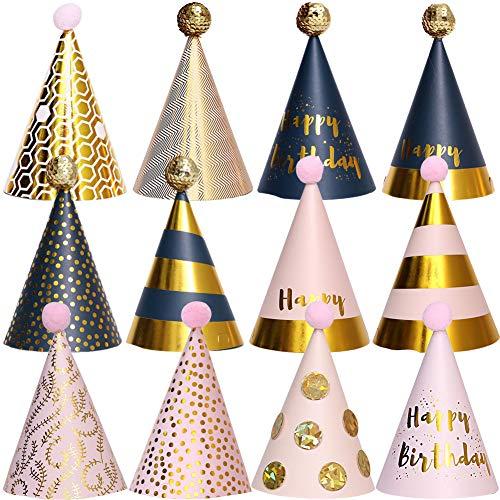 BESTZY 12PCS Partyhüte Geburtstag Dekoration Set Happy Birthday Partyhüte Party Kegel Hüte mit Pom Poms(18*11cm)
