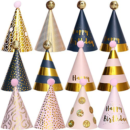 BESTZY 12PCS Partyhüte Geburtstag Dekoration Set Happy Birthday Partyhüte Party Kegel Hüte mit Pom Poms(18*11cm)