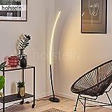 Lámpara de pie LED Nagu, lámpara de suelo curvada de metal en negro, moderna lámpara de pie con interruptor de pie en el cable, 1 x LED de 11 W, 3000 K, 1100 lúmenes