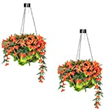 Primrose Duranta Artificial Hanging Baskets with Solar Light - 4 Colours (Red, Pair)