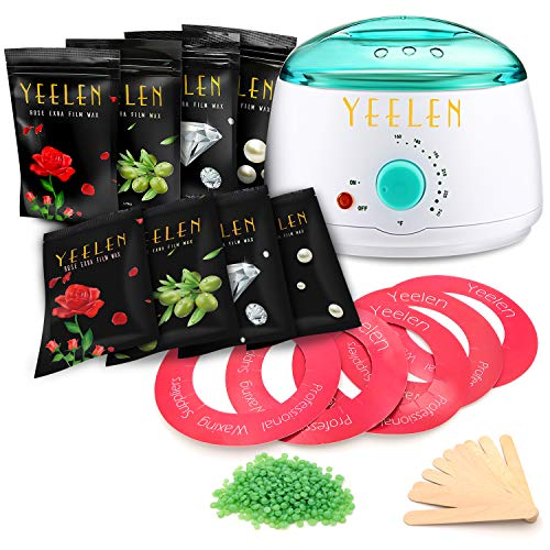 Yeelen Wax Warmer Hair Removal Waxing Kit Wax Melts 8 Hard Wax Beans 10 Wax Applicator Sticks 5 Wax Clean Collars for Full Body Bikini Face Women Men