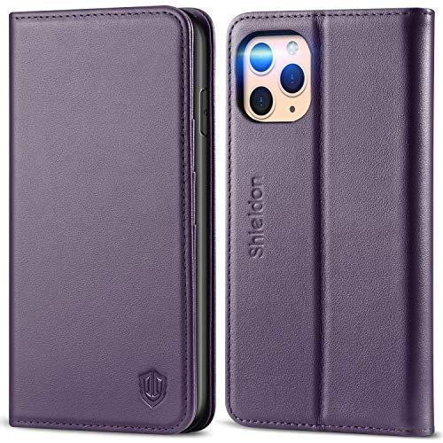 SHIELDON iPhone 11 Pro Max-hoesje, Wallet-hoesje met Automatisch Wekken/Slapen, RFID-blokkering, Kaartsleuven, Standaard, TPU-schaal, Compatibel met iPhone 11 Pro Max (6,5 inch), Purper