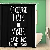 Awowee Duschvorhang mit inspirierendem Zitat von Meme, schwarz & weiß, 152 x 180 cm, Polyester, wasserdicht, mit Haken für Badezimmer