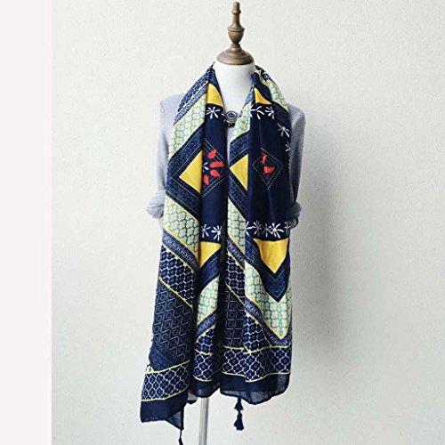 JING Echarpe à Pompon en Coton Bleu foncé Style bohème