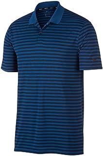 Nike New DRI FIT Victory Stripe Golf Polo Gym Blue/Obsidian/Black Large