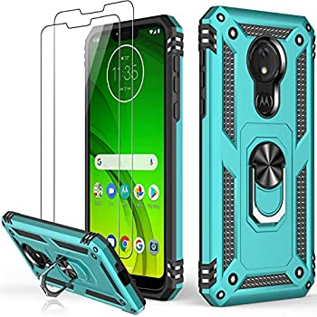 LUMARKE Moto G7 Power Case with Glass Screen Protector 2 Pack ,Pass 16ft Drop Test Military Grade Heavy Duty Cover with Magnetic Kickstand,Protective Phone Case for Moto G7 Power Turquoise