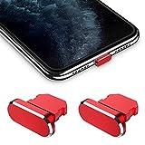 iMangoo - 2 tapones antipolvo compatibles con iPhone 11/11 Pro Max/SE/XR/X/8 Plus/8/7, tapón antipolvo con funda de transporte, clip de silicona, conector de carga para iPad Air Mini Pro (rojo)