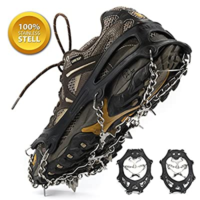 Weanas Ice Cleats Crampons Traction, Ice Snow Grips for Boots Shoes, Anti Slip Stainless Steel Spikes Safe Protect for Hiking Fishing Walking Climbing Jogging Mountaineering, 10-Crampon Free Size