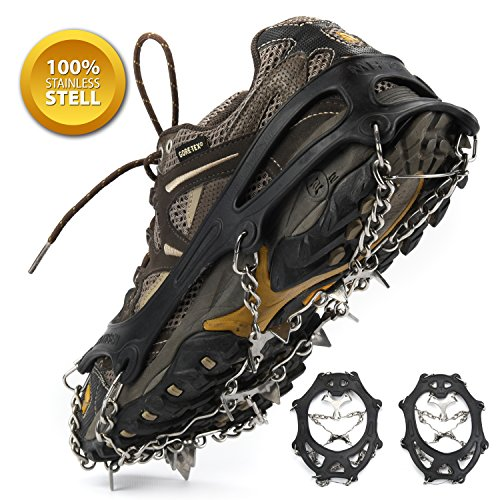 Weanas Ice Cleats Crampons Traction, Ice Snow Grips for Boots Shoes, Anti Slip Stainless Steel Spikes Safe Protect for Hiking Fishing Walking Climbing Jogging Mountaineering, 8-Crampon Freesize/Black