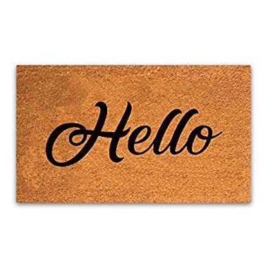 MPLUS Pure Coco Coir Doormat with Heavy-Duty PVC Backing - Hello - Perfect Color/Sizing for Outdoor/Indoor uses. Pile Height: 15mm - Size: 18 -Inches x 30 -Inches