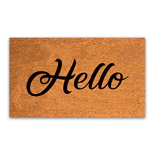 Pure Coco Coir Doormat with Heavy-Duty PVC Backing - Hello - Size: 17-Inches x 30-Inches - Pile Height: 0.6-Inches - Perfect Color/Sizing for Outdoor/Indoor uses.
