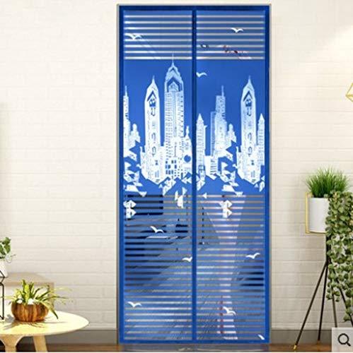 WL Sommer-Magnet-Tür, atmungsaktive Dichtung, Türvorhang, Küchentür-Vorhang, ohne Bohren Insektenverhütung 95x210cm(37x83inch) e