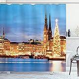 ABAKUHAUS Winter Duschvorhang, Hamburg Deutschland Altstadt, mit 12 Ringe Set Wasserdicht Stielvoll Modern Farbfest & Schimmel Resistent, 175x220 cm, Orange Braun Blau