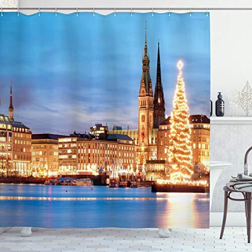 ABAKUHAUS Winter Duschvorhang, Hamburg Deutschland Altstadt, mit 12 Ringe Set Wasserdicht Stielvoll Modern Farbfest & Schimmel Resistent, 175x200 cm, Orange Braun Blau