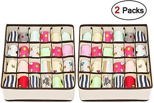 Joyoldelf 2 Stück Aufbewahrungsboxen für Unterwäsche und andere kleine Zubehörteile,24 Zellen Faltbare Schubladenunterteilungen zum Aufbewahren von Socken,Schals,Büstenhalter(Beige)