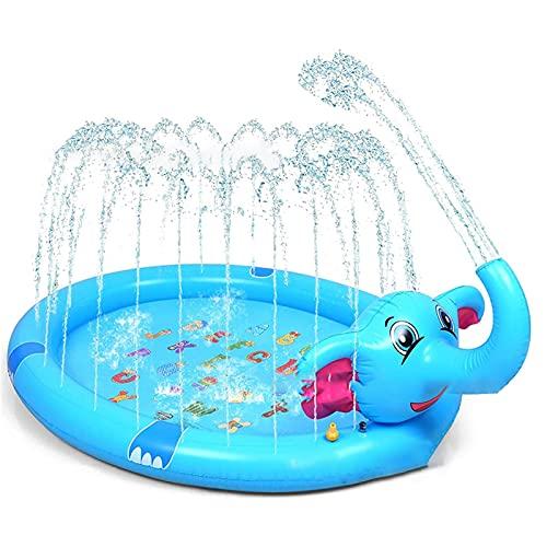 ABCSS Splash Pad,Tapete de Aprendizaje para Salpicar con Rociadores para Actividades al Aire Libre,Juguetes Inflables de Agua para Bebés,Niños Pequeños y Niños (210 * 120 * 50CM)