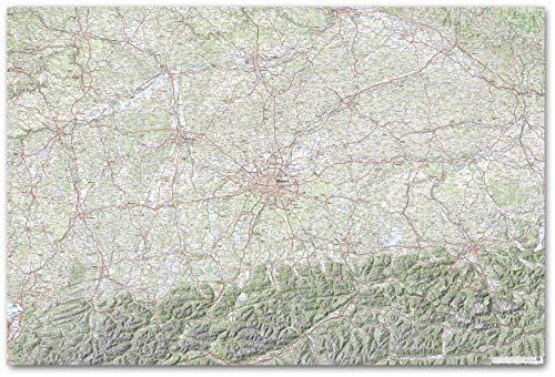 J. Bauer Kaarten topografisch kaart Duitsland Südbayern Poster