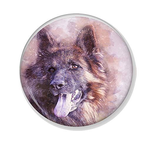 Generic Gifts & Gadgets Co Anstecker Deutscher Schäferhund Malerei 25 mm Schmetterling Kupplung Pin Rückseite Rund Abzeichen