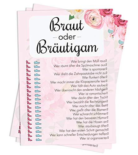 Nalara | Braut oder Bräutigam, das spannende Hochzeits-Quiz über das Brautpaar für Deine Gäste mit Spaßgarantie (50 Stück)