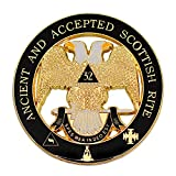 32nd Degree Ancient & Accepted Scottish Rite Round Masonic Auto Emblem - [Black & Gold][3'' Diameter]