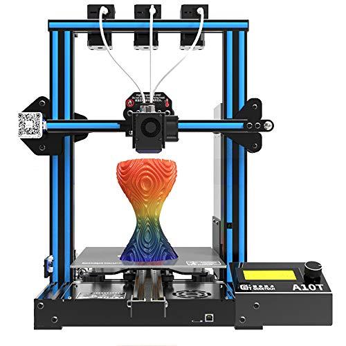 DERUC Geeetech A10T Mix-Color - Stampante 3D in alluminio Prusa I3, con funzione di ripresa pausa, montaggio rapido, 220 x 220 x 250 mm