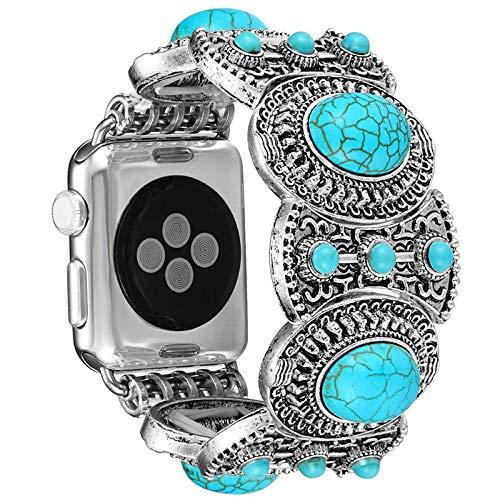 Adecuado para Apple Watch iwatch 6 / SE / 5/4/3/2/1 (38/40 mm, 42/44 mm) correas de repuesto, pulseras de repuesto de pulsera turquesa de joyería retro, estilo bohemio
