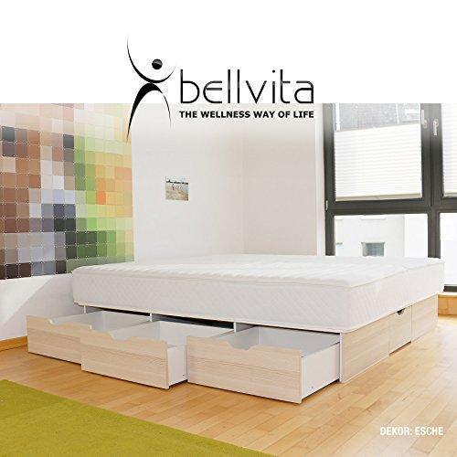 bellvita WASSERBETTEN SCHUBLADENSOCKEL inkl. Lieferung und AUFBAUSERVICE durch Fachpersonal, 160 cm x 200 cm (esche)