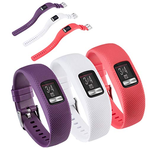 HUABAO Watch Strap Compatible with Garmin vivofit 4,Adjustable Silicone Sports Strap Replacement Band for Garmin vivofit 4 Smart Watch (Purple+White+red, L)